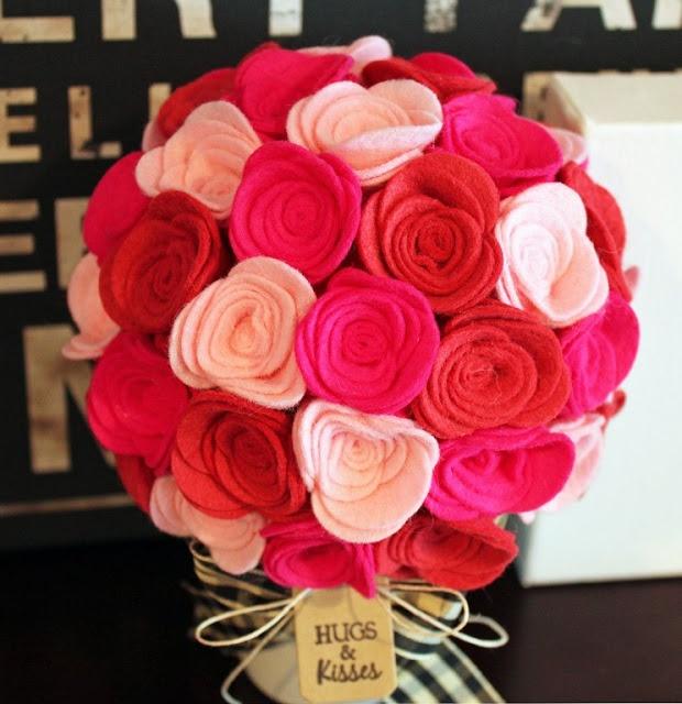 Vilten boeket   Felt Bouquet 'Hugs & Kisses' #Valentijn