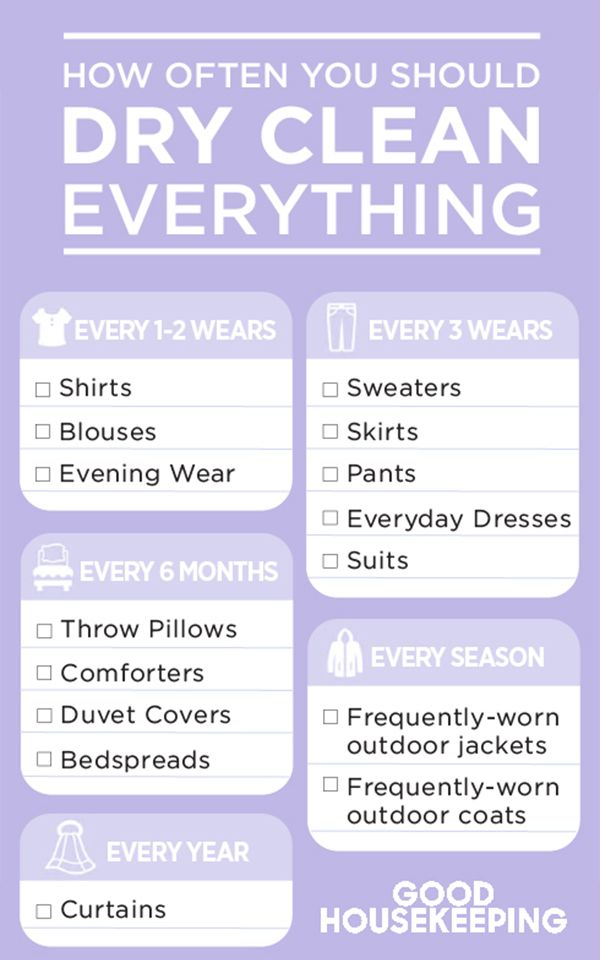 "If you have a pile of clothes growing in the corner of your room that you keep meaning to take to the dry cleaners, listen up: Not every ""dry clean only"" garment needs to be professionally washed after every single wear. Whew. Talk about good news for your wallet and your time. Click through for more information on how often you should dry clean everything."
