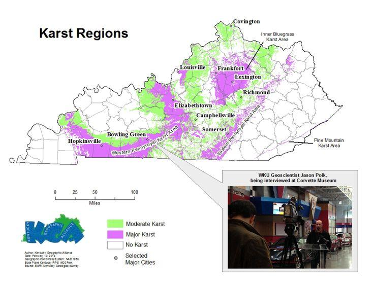 kentucky karst map sinkholes and karst terrain regions in america 1900 2015 maps