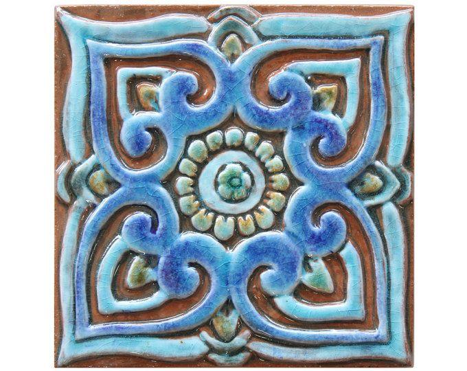 Decoratieve tegel met mandala ontwerp / / keramische tegel / / wand tegel / / Wall art / / Mandala #1 / / 15cm / / Turquoise