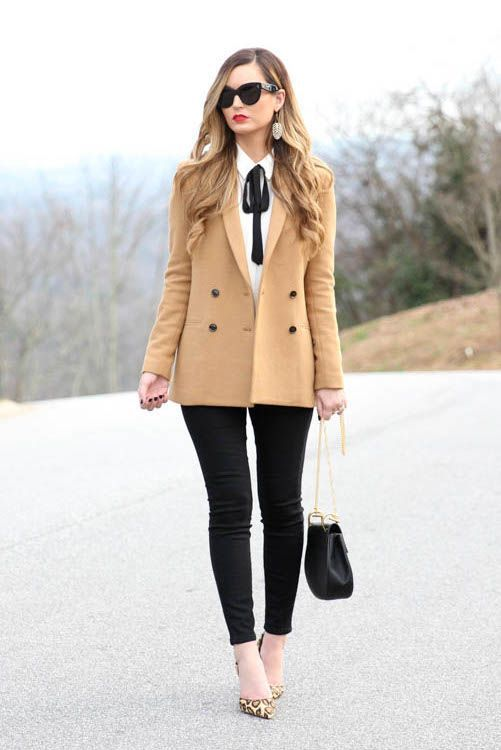 Camel Blazer, White and Black bow blouse, Black trousers, Leopard shoes - Work Outfit