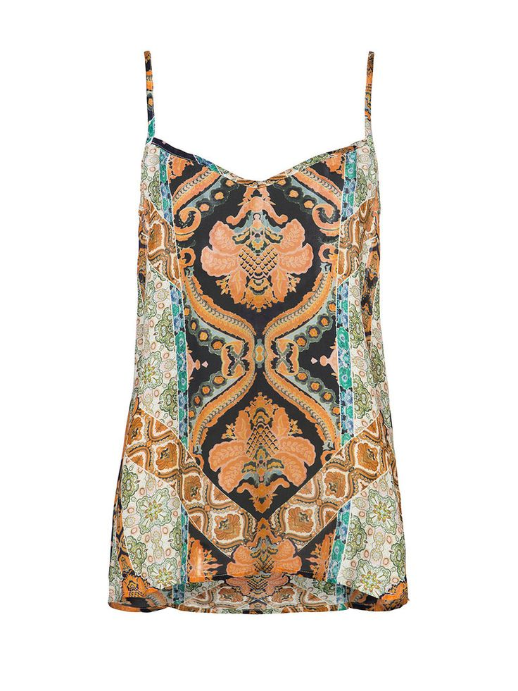 This versatile Little Joe Woman by Gail Elliott Dust In The Wind viscose chiffon camisole, is the perfect boho-luxe piece for this season. Featuring an exclusive seventies folk print and delicate spaghetti straps, it will have you looking on trend and feeling fabulous this summer and for many more to come.