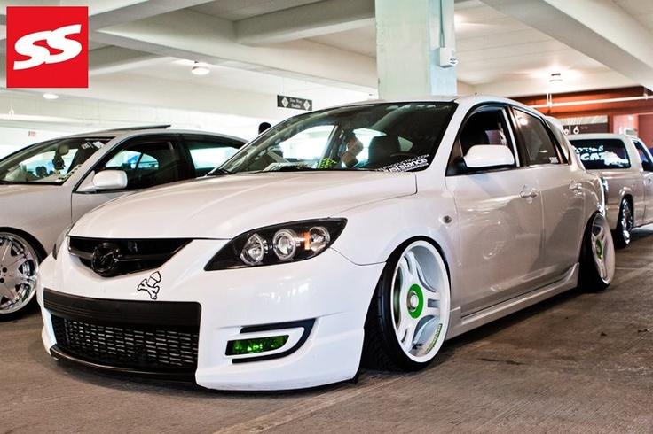 White Slammed Mazda 3 hatch  #bagged #stanced #hellaflush