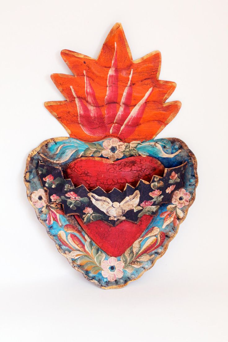 Vintage Tin sacred heart Mexican wall art multicolored SPRING// mothers day gift…