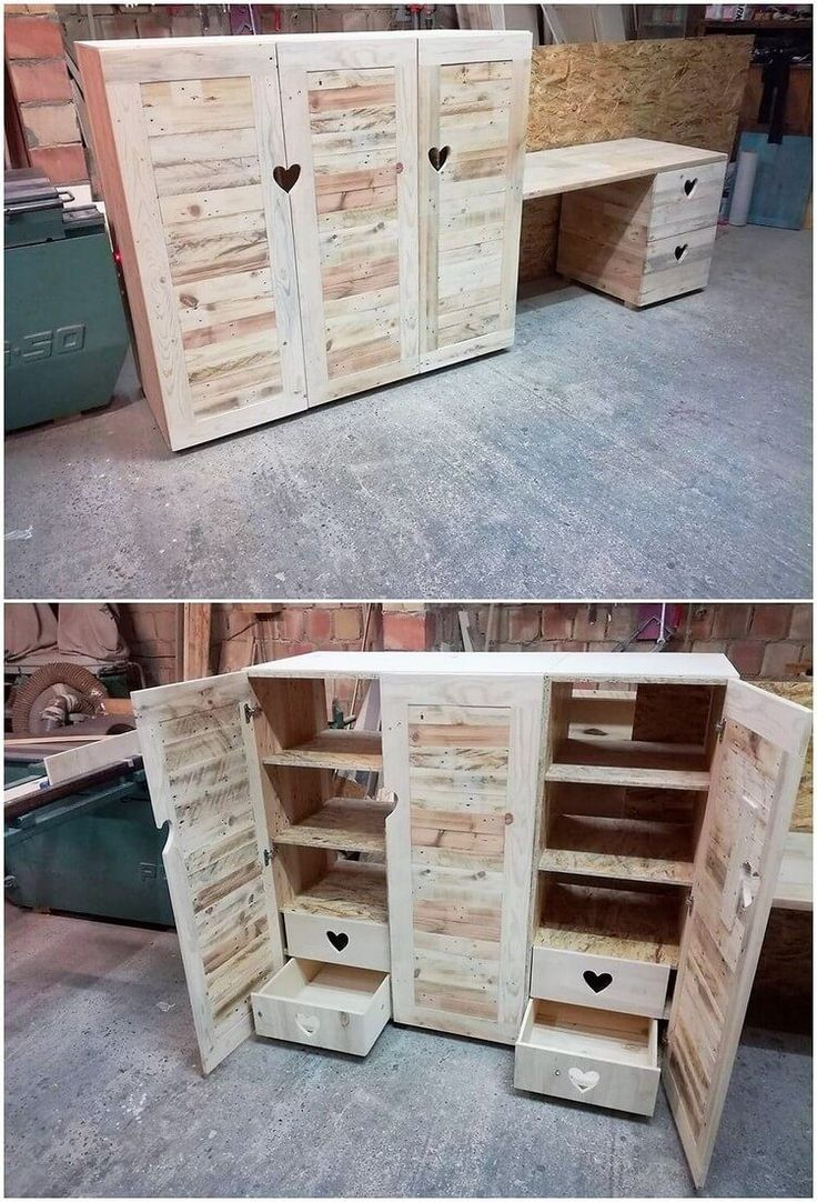 By taking into account the old pallet piece, you can artistically recreate it into the eye-catching idea of cabinet piece of artwork too. It would turn out to be so majestic looking. Make it look perfect as it would be additionally accompanied with the divisions of shelves into it. #palletfurniture