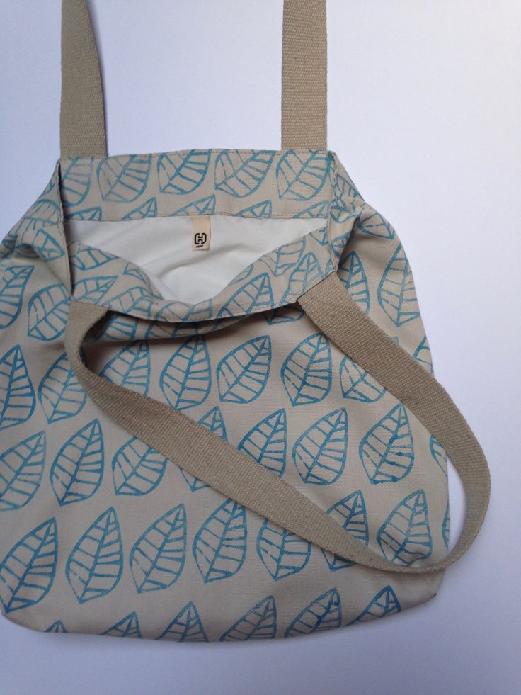 Hepphabit block printed canvas tote bag - leaves
