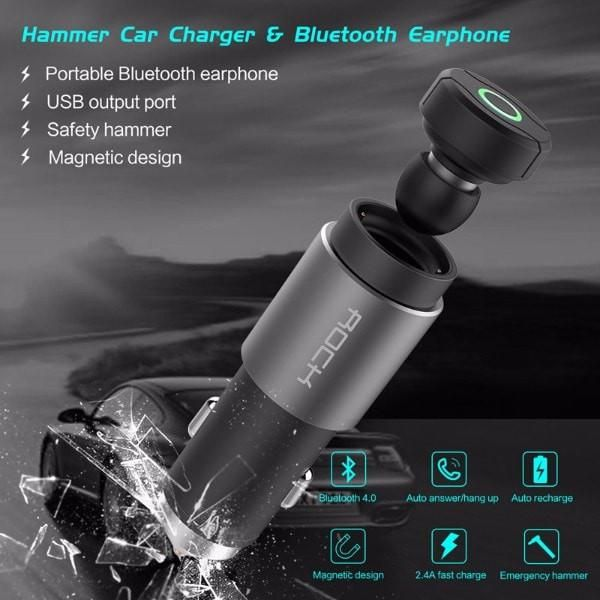 3 in 1 Hammer Car Charger with Bluetooth Earphone