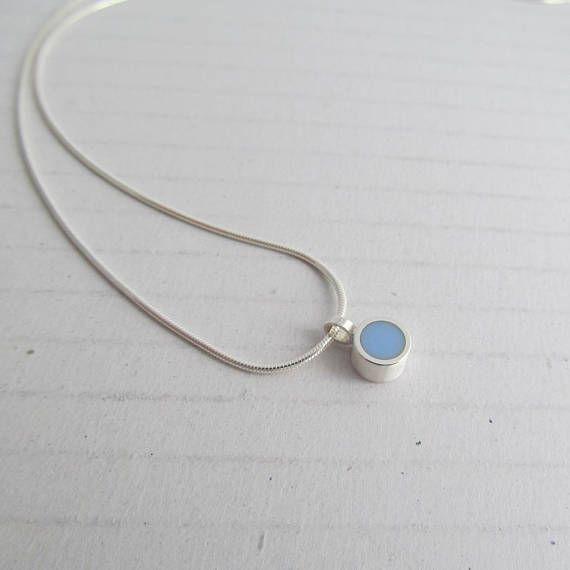 Tiny Sky Blue Dot Pendant