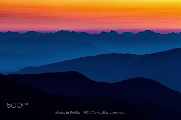 Mountain Profiles - Mountain profiles at sunset. Alps. Trentino-Alto Adige ©www.albertoperer.com