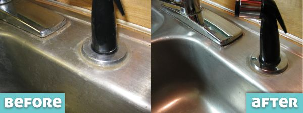 DIY Hard Water Cleaner Before and After Kitchen Sink
