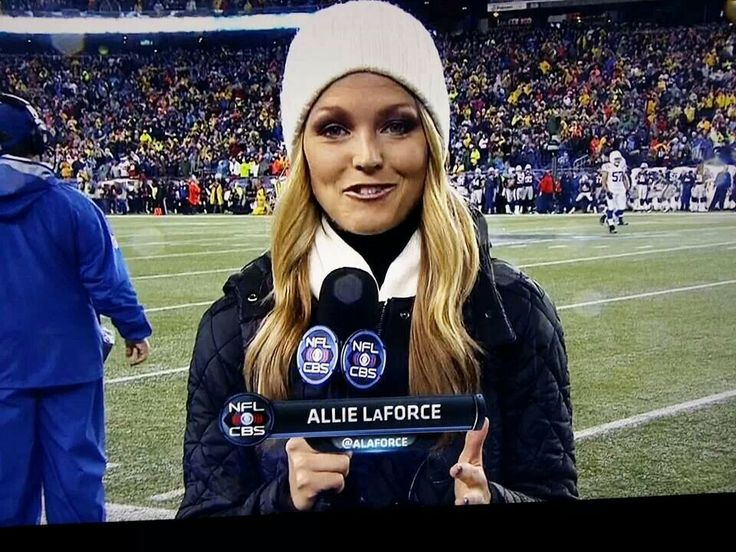 ALLIE LAFORCE, 2011 Ohio University graduate, former OU basketball player and Miss Teen America participant works the sideline for CBS Sports as they cover the AFC playoff game between the Colts and the Patriots at New England. 1/11/14.