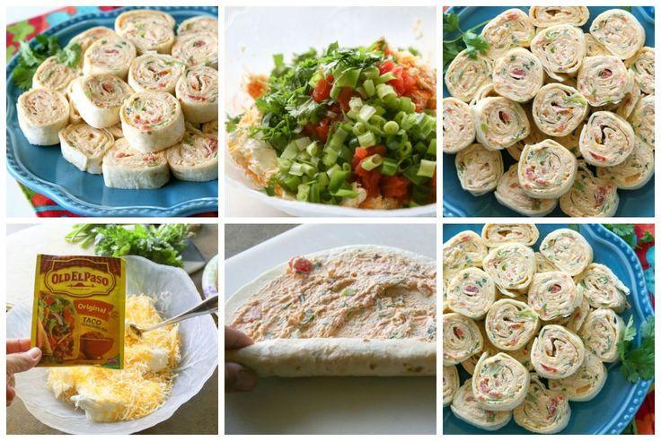 Rolinhos Recheados de pão de forma com Frango e Maionese(frio)- Serve:  80 rolos   Ingredientes o2 (8 g) pacotes cream cheese(requeijão), amolecido o1 ½ xícaras de queijo ralado mexicano o2 colheres de sopa de tempero Old El Paso taco o2 xícaras de frango desfiado (frango assado funciona bem) o1 (10 g) pode tomates cortados com pimentões verdes, bem drenados o1 colher de chá de alho picados o4 cebolinha fatiada o½ xícara de coentro picado o8 tortillas de tamanho burrito