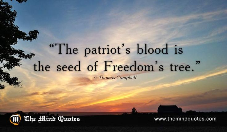 The patriot's blood is the seed of Freedom's tree.Thomas Campbell Quotes on Patriotism and Freedom. Read, Think and Share on themindquotes. #patriot #freedom