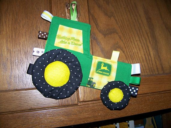 John Deere Tractor Tag Toy made with John Deere fabric Patchwork Crinkle Toy pdf pattern with Immediate Download e-file