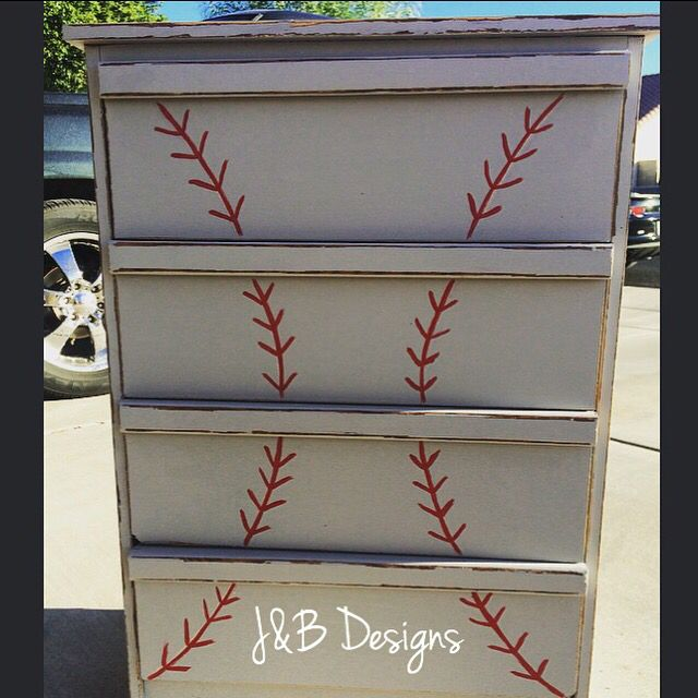 Baseball Dresser Refinished In Grey Chalk Paint With Red Stitches Follow Us On Instagram