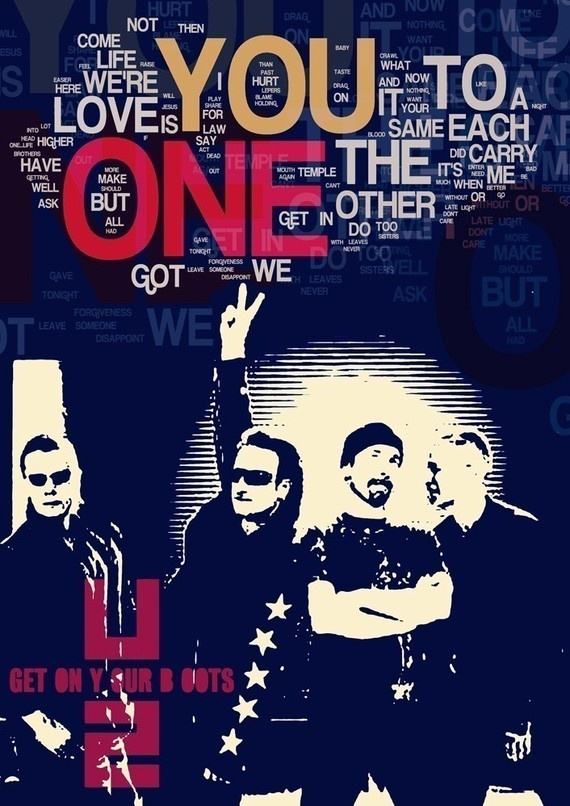 U2 Music Poster fine art print ONE - U2. Poster with dark blue background and lyric typography - rock band wall decor with fantastic details on  http://www.etsy.com/listing/54217834/u2-music-poster-fine-art-print-one-u2