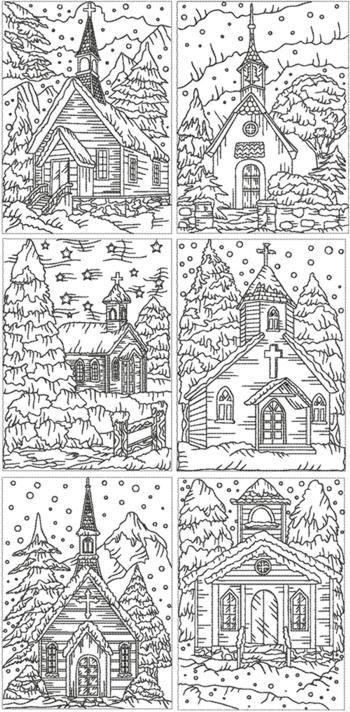 Redwork de Navidad Conjunto Iglesia