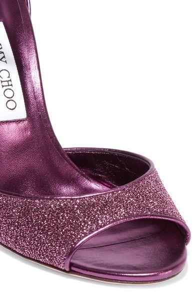Jimmy Choo - Moscow Pvc-trimmed Lurex Sandals - Plum - IT37.5