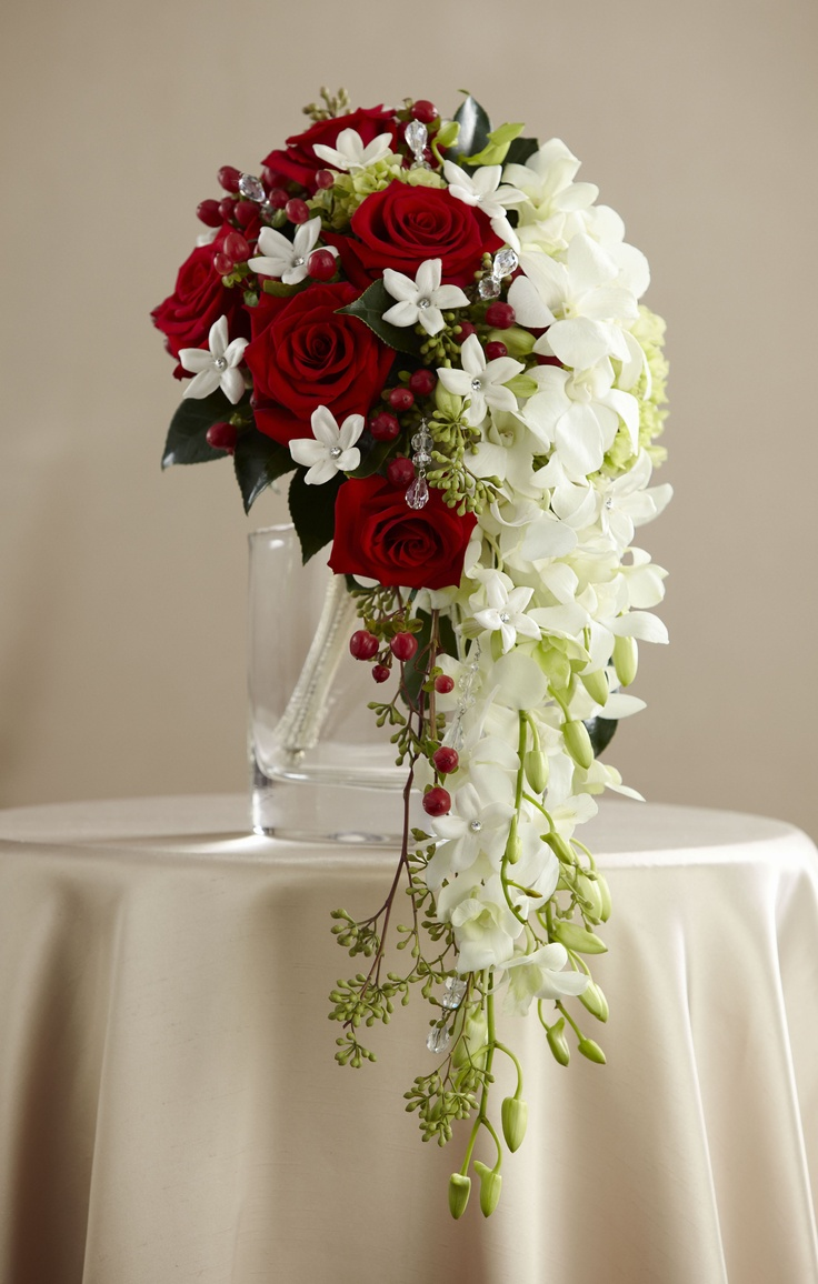 Wedding Flowers - Bride's cascade style bouquet in red and white from the FTD Wedding Guide.