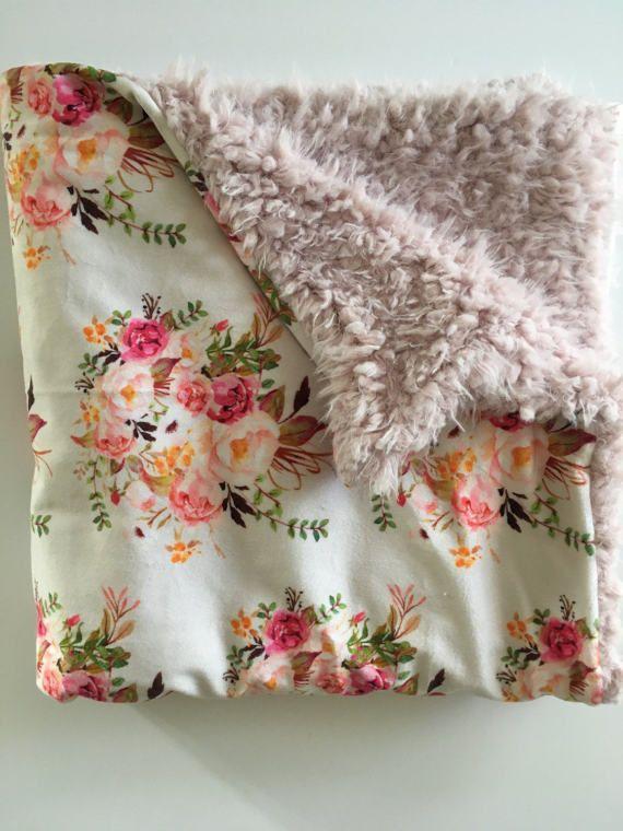 Boho Vintage Floral Minky Baby Blanket blush pink floral