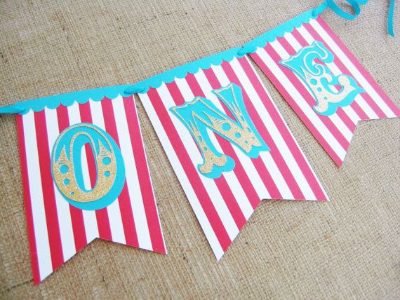 ONE Circus Carnival Banner / Red Blue Gold / High Chair Banner / Birthday Banner