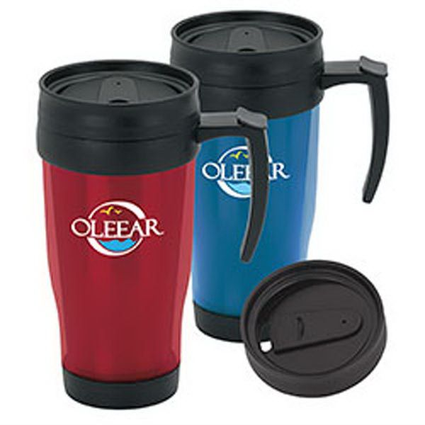 "Drink in the success this handy marketing tool will bring in for your brand! Our Translucent Travel Mug is a very comfortable mug that comes in a variety of translucent colors. It's great for anyone on the road! Measuring 4 3/4""w x 6 3/4"" h with a 3 1/4"" diameter; this mug features an acrylic exterior and interior, comfort handle, screw-on, leak resistant slider lid and 15 oz capacity when filled to the rim. Add your logo and order today!"
