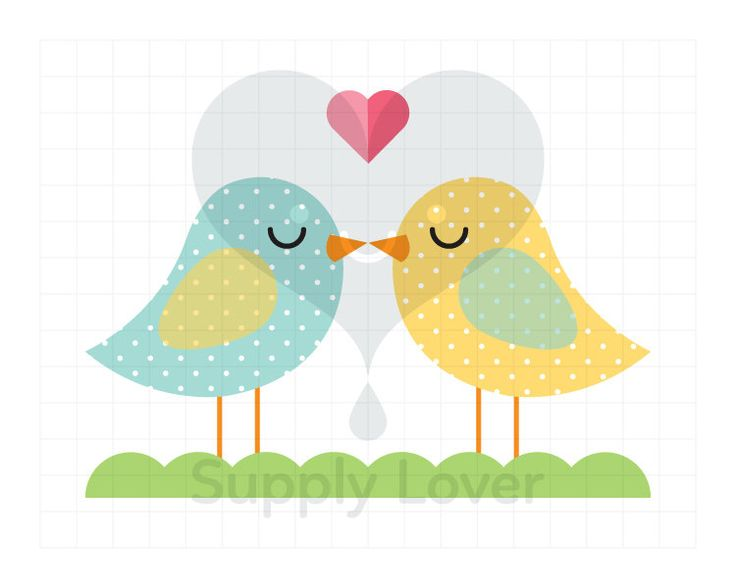 LOVEBIRDS Clip-Art Commercial Use, Turquoise, Polka Dot, Yellow, Aqua, Heart, Kiss, Bird, Valentines, Romance, Kiss - A0078