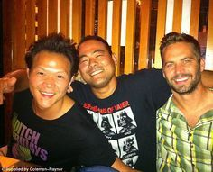 Paul Walker with two of his closest friends, Ronn Shikari and Vince Krause, who both live in Hawaii.