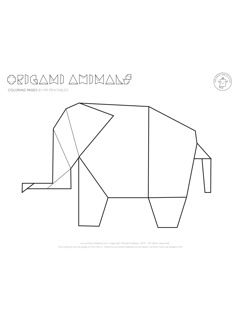 Origami elephant coloring pages