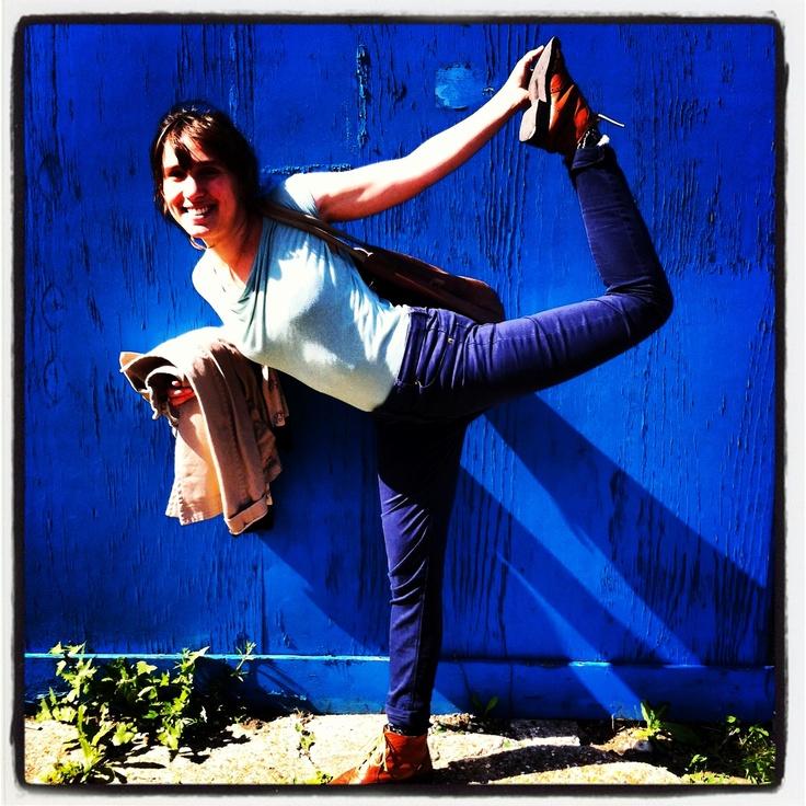 Blue yoga in the sun