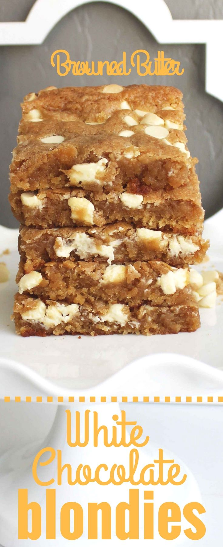 Browned Butter White Chocolate Blondie Bars. Rich toffee flavored brown butter cookie dough studded with white chocolate chunks. These White Chocolate Blondies are always a huge hit with everyone! www.modernhoney.com