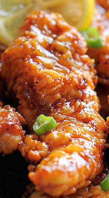 Asian Lemon Chicken Tenders ~ A wonderful asian twist to your favorite chicken tenders, tossed in the most heavenly sweet, lemon glaze!