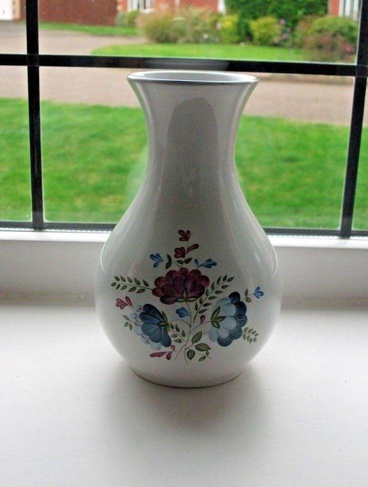 BHS (British Home Stores) Priory Ceramic Vase - White - Blue/Mauve Floral Design