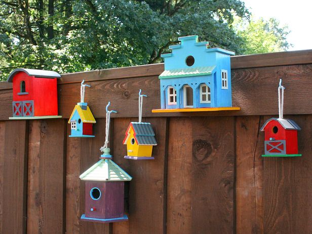 Designer MacGyver: 5 Birdhouse Ideas That Aren't for the Birds (http://blog.hgtv.com/design/2014/08/25/birdhouse-decor-ideas/?soc=pinterest)Ideas, Gardens Fence, Outdoor, Side Yards, Birds House, Painting Birdhouses, Bird Houses, Fence Art, Back Patios