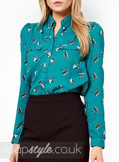 Hollyoaks    We have found Sienna Blake's blouse, as seen Hollyoaks.  Sienna first wore this top back in 2014, when she was under the watchful eye of Sam Lomax.  Featuring a lovely illustrated bird print on a green backdrop, ...