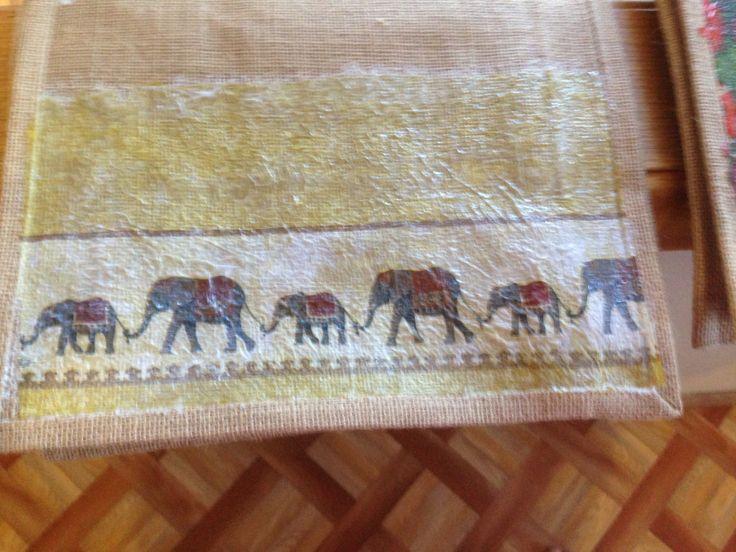 Hessian shopping bags - Elephants