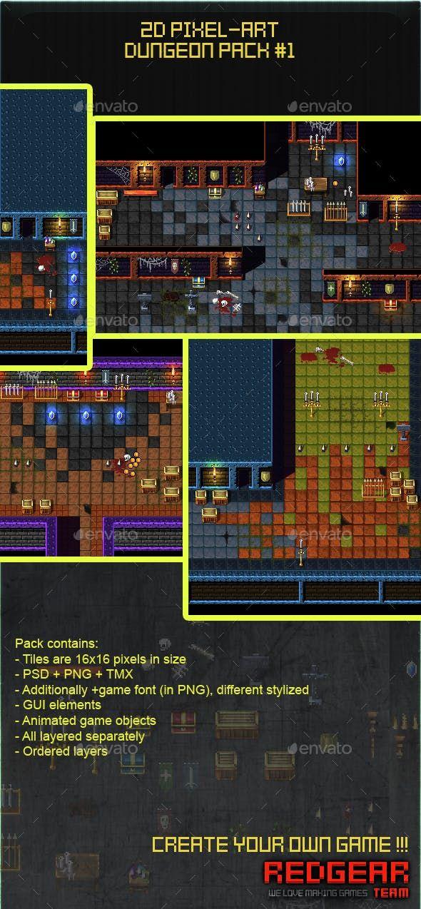 2D Pixel Art Dungeon Pack #1 — Photoshop PSD #2d #assets   Game