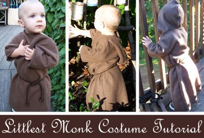 The Littlest Monk: A Halloween Costume How-To - You could use this same pattern to make a toddler hooded snuggie!