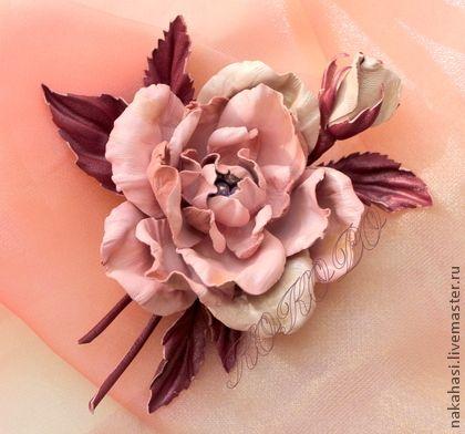 """Броши ручной работы. Ярмарка Мастеров - ручная работа Брошь из кожи. Роза. """"Английский сад"""". Handmade."""