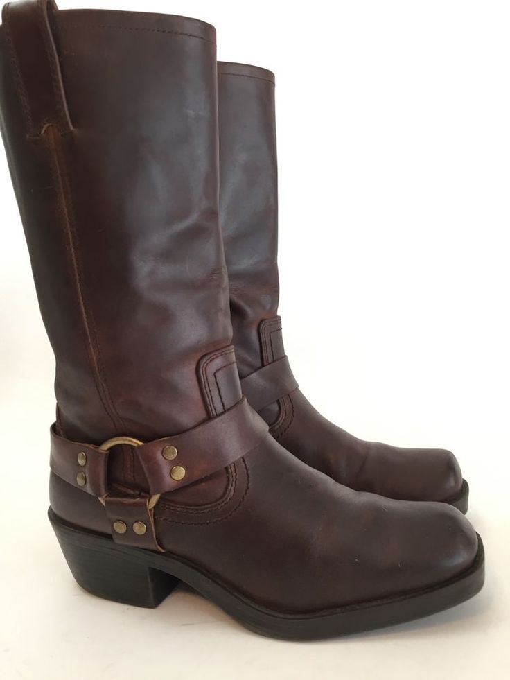 MOSSIMO (9) Brown Oiled Leather Harness Biker Boots Men's 7 /  Women's Sz 9 M #Mossimo #Boots