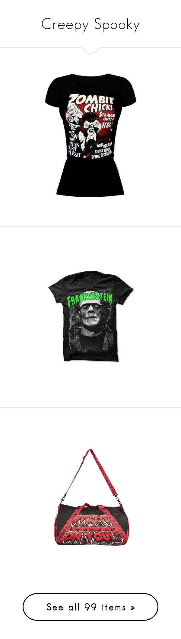 """""""Creepy Spooky"""" by lolabourbon ❤ liked on Polyvore featuring tops, shirts, t-shirts, zombie, paul frank t shirt, paul frank shirt, paul frank tee, paul frank, tee-shirt and bags"""