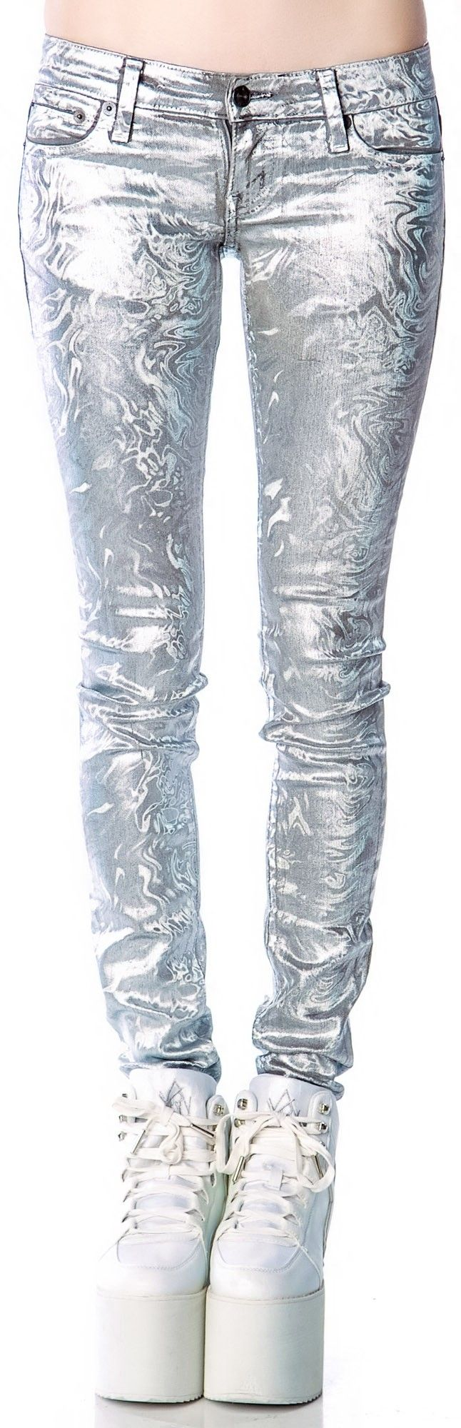 Kill City Melting Holographic Foil Junkie Jeans   Dolls Kill