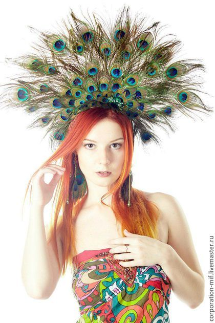 "Tiaras, hoops handmade.  Fair Masters - handmade.  Buy a crown of feathers, ""bird of happiness.""  Handmade.  Multicolored"