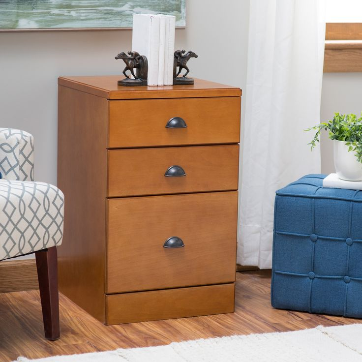 I like this filing cabinet style - two drawers for regular office storage plus the filing drawer - Belham Living Cambridge 3-Drawer Wood File Cabinet | from hayneedle.com