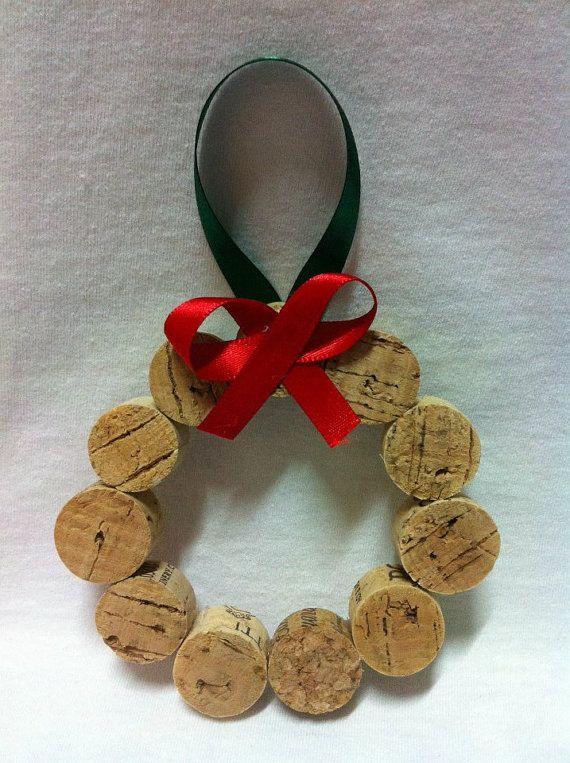 Wine Cork Wreath Ornament by MichelleLittleStitch on Etsy, $9.00
