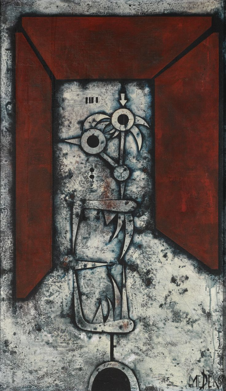 MIKULÁŠ MEDEK, CZECH,1926 - 1974. LAMPA, 1970, mixed media on canvas, 120 by 70cm., 47¼ by 27½in.