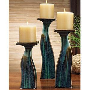 Set Of 3 Glazed Blue & Brown Candle Holders  (Reg. $60.00)  $18.99