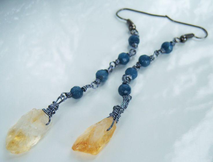 Boucles d'oreille citrine agate bleue : Boucles d'oreille par adrimag