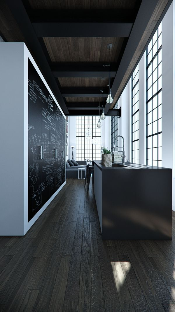 Dark Interiors | Black | Walls | Chalkboard | Kitchen | Architecture & Interior Design - Modern Surfaces