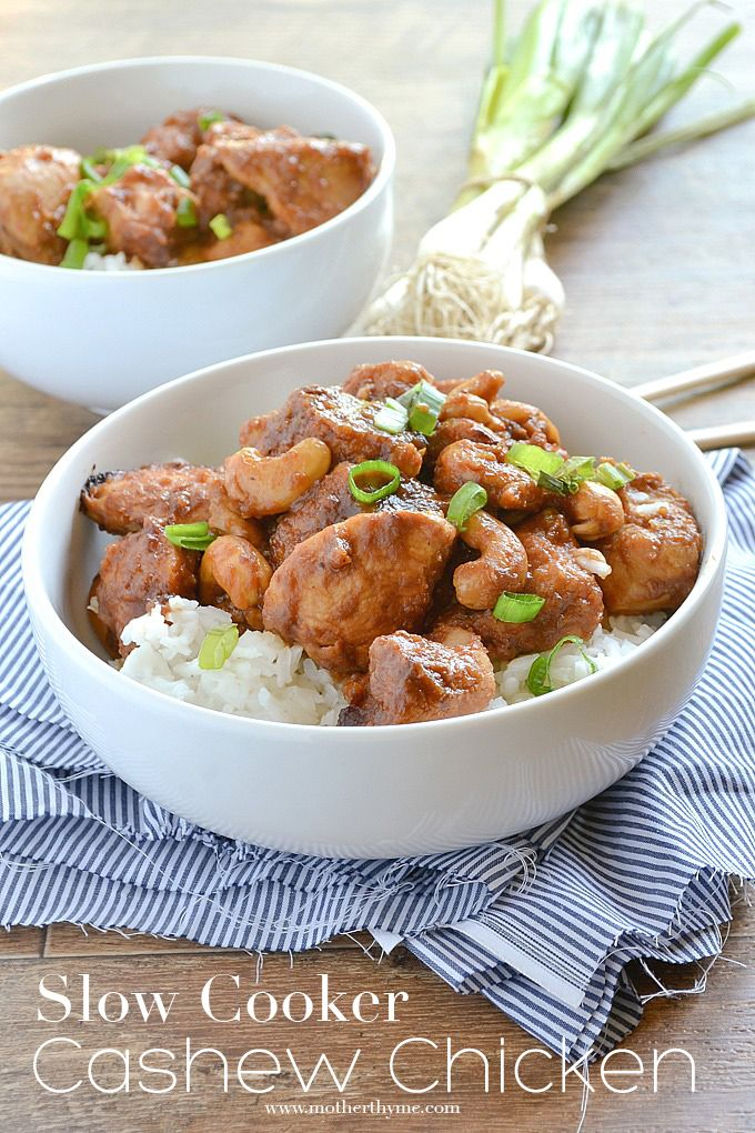 Slow Cooker Cashew Chicken from @MotherThyme